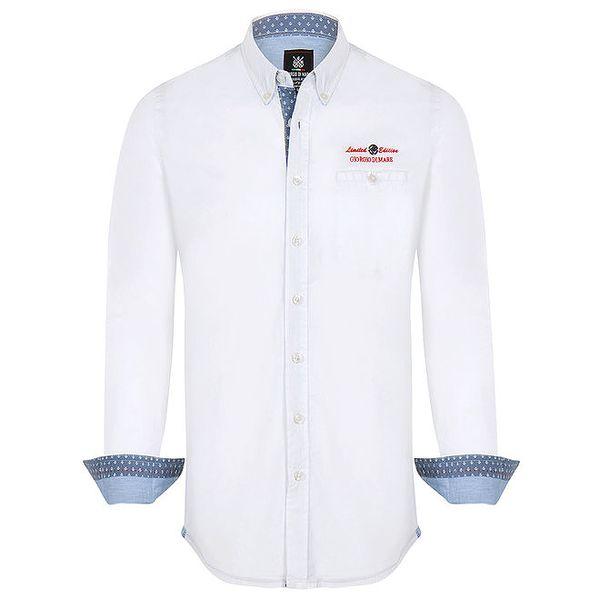 Pánská bílá košile s červeným nápisem Giorgio di Mare