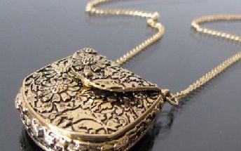 Retro náhrdelník Kabelka s květy!
