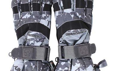 Vzorované šedé lyžařské rukavice Authority