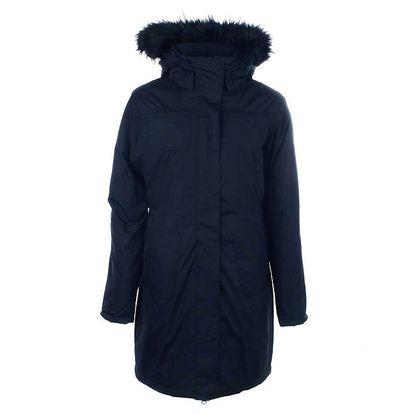 Dámský černý kabát s kožíškem na kapuci Authority