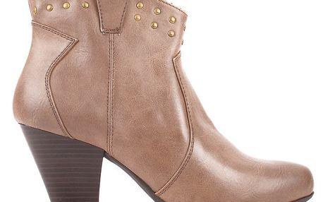 Dámské hnědé kotníčkové boty s cvočky Toscania
