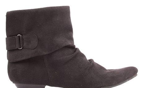 Dámské nařasené kotníkové boty Toscania - černé