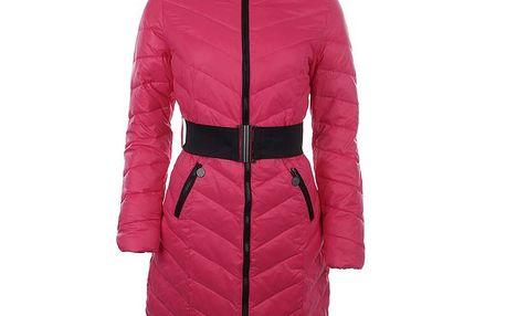 Dámský růžový kabát s černým páskem Authority