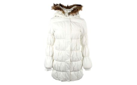 Dámský bílý prošívaný kabát s kožíškem Authority