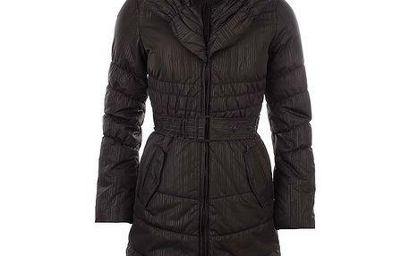 Dámský tmavě hnědý vzorovaný kabát s páskem Authority