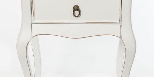 Odkládací stolek Mira Vintage White, 46x33x70 cm - doprava zdarma!