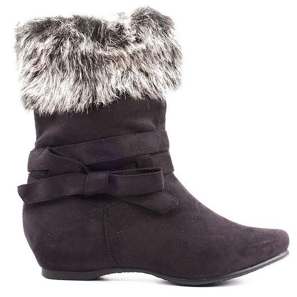 Dámské černé boty s kožíškem Toscania
