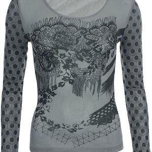 Dámské šedé tričko se vzorovanými rukávy Angels Never Die