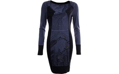 Dámské tmavomodré šaty s potiskem a dekorativní aplikací na přední straně Angels Never Die