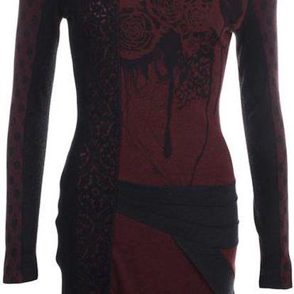 Dámské vínovo-černé šaty s dlouhým rukávem Angels Never Die