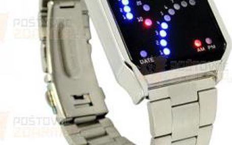 Binární hodinky s 29 LED - stříbrné a poštovné ZDARMA! - 9999900290