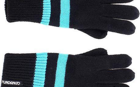 Dámské černé rukavice s modrým pruhem Fundango