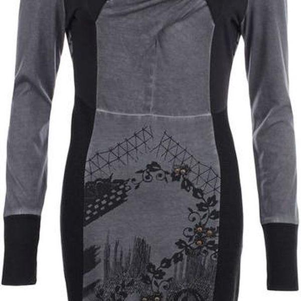 Dámské šedé šaty s tmavým potiskem a dekorativní aplikací na přední straně Angels Never Die