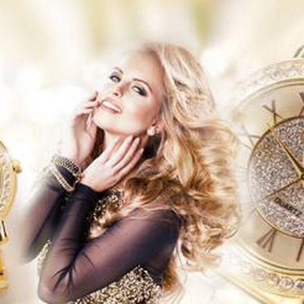 Elegantní zlaté hodinky KANIMA! Ciferník hodinek zdobený třpytivými kamínky a nápaditými římskými číslicemi!