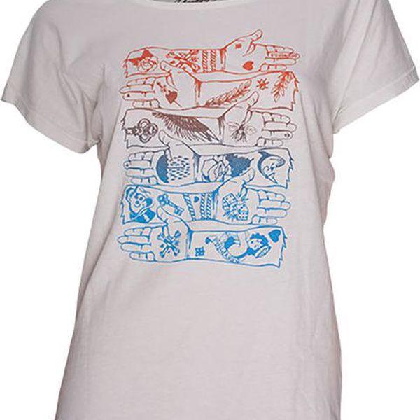 Dámské bílé tričko s barevným potiskem rukou Fundango