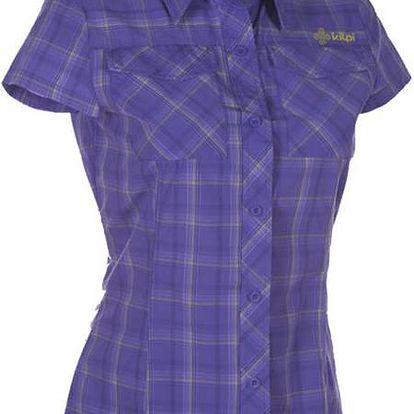 Dámská fialová kostkovaná košile s krátkým rukávem Kilpi
