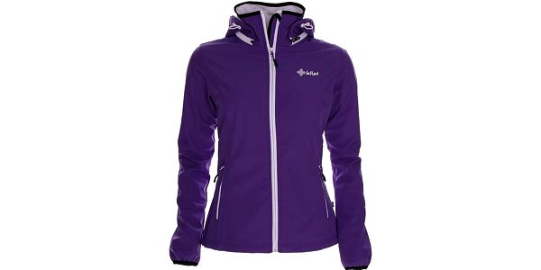 Dámská softshellová fialová bunda s límcem a kapucí Kilpi