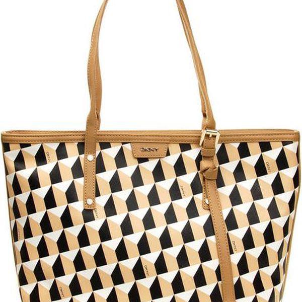 Dámská černo-béžová kabelka se vzorem DKNY