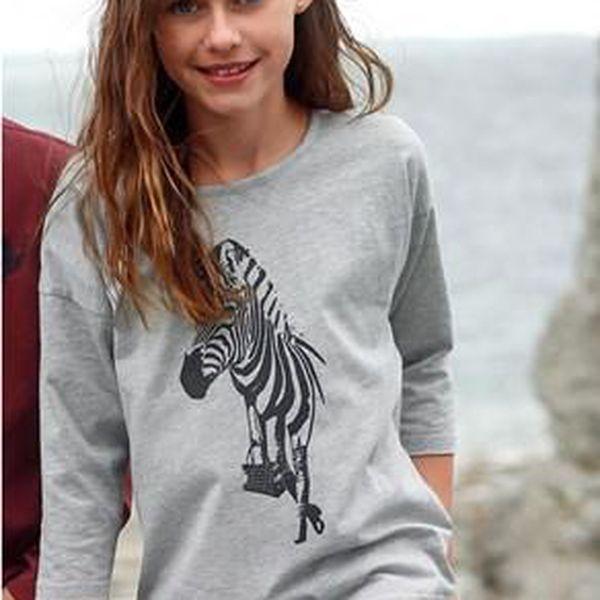 Stylové dětské tričko s potiskem zebry