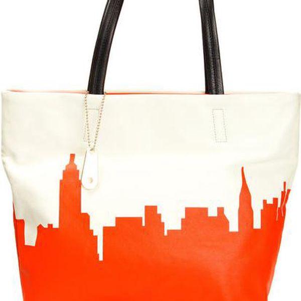 Dámská kabelka s oranžovým vzorem DKNY