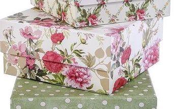 Sada 3 úložných krabiček Roses