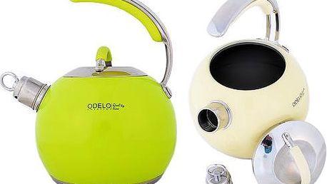 Čajník s píšťalkou o objemu až 3 litry v různých barvách.