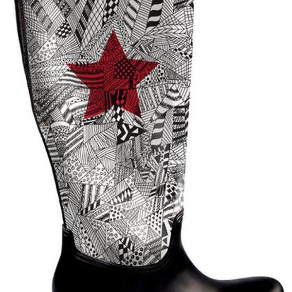Dámské vysoké boty do deště s červenou hvězdou The Bees