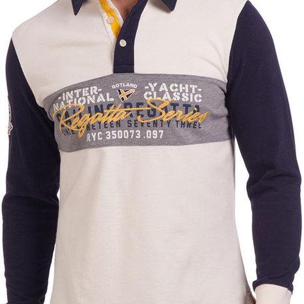 Pánské bílo-modré polo tričko se vzorem na hrudi Galvanni