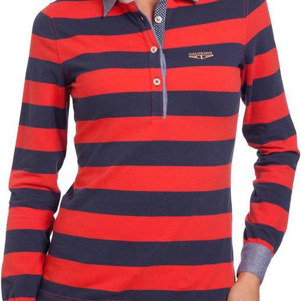 Dámské modro-červené pruhované polo tričko Galvanni