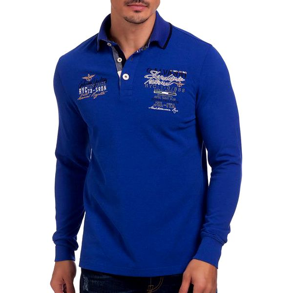 Pánské modré polo triko s dlouhým rukávem Galvanni