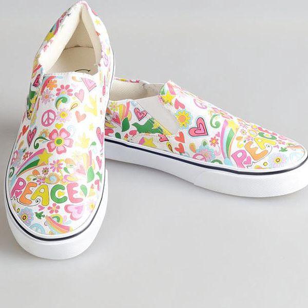 Dámské barevné boty s mírovým poselstvím The Bees