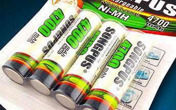 Nabíjecí tužkové baterie AA o kapacitě 4700 mAh. Výhodné balení 4 kusů!