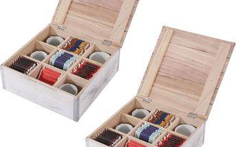Sada 2 krabiček na ponožky/kravaty/čaj Shabby, bílá