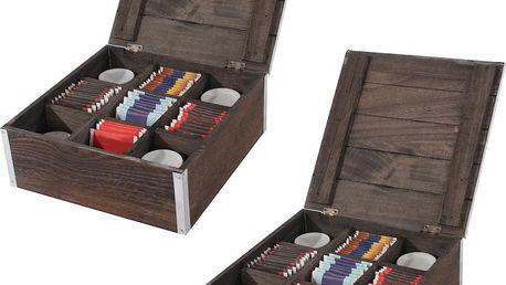 Sada 2 krabiček na ponožky/kravaty/čaj Shabby, hnědá