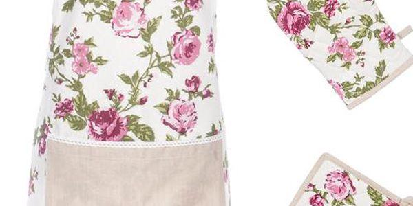 Sada zástěry, rukavice a podložky Roses Pink