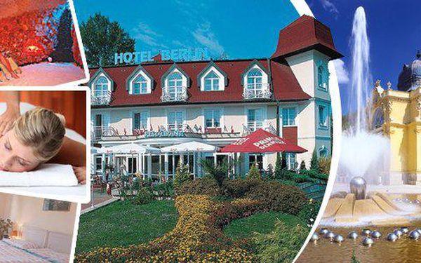 Pojeďte do Mariánských Lázní za relaxací do hotelu Berlin***!! 3 nebo 6 dní pro 2 osoby s polopenzí, solnou jeskyní a u 6denního pobytu navíc oxygenoterapie, masáž, zábal a welcome drink!! Parádní dovolená ve světoznámých lázních!!