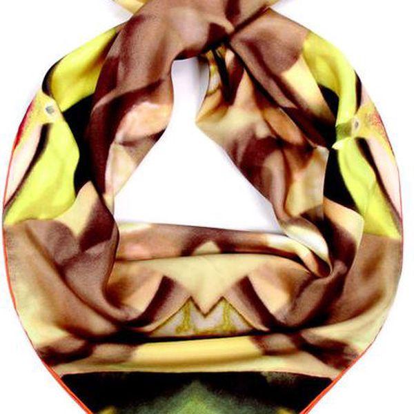 Dámský hnědo-žlutý hedvábný šátek Fraas