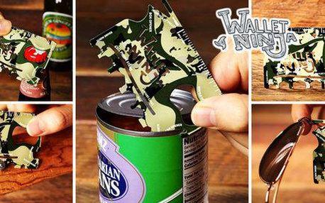 Multifunkční nástroj ve velikosti karty - Wallet Ninja camouflage!