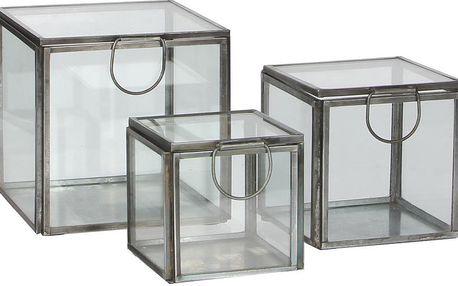 Sada 3 úložných skleněných krabiček Grazia