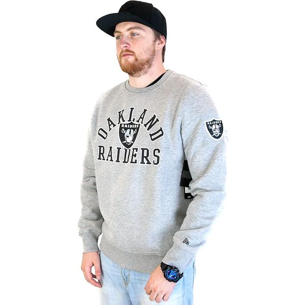 Pánská mikina New Era NFL Superscript Oakland Raiders Crewneck Heather Grey