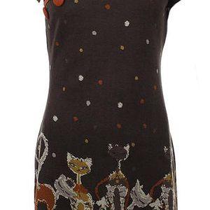 Dámské hnědé šaty s kočkami Purple Jam