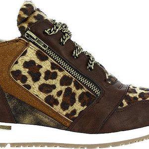 Dámské hnědé tenisky s leopardím vzorem a řetízkem Shoes and the City