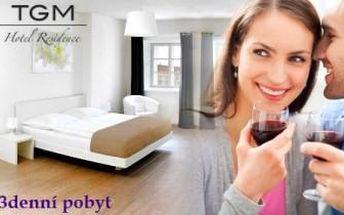 3denní romantický pobyt ve Znojmě pro 2 osoby. Snídaně a lahev sektu v HOTELU RESIDENCE TGM.