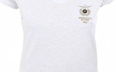 Dámské bílé tričko s výstřihem do V Aeronautica Militare