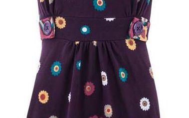 Dámské fialové šaty s barevnými květy a límečkem Purple Jam