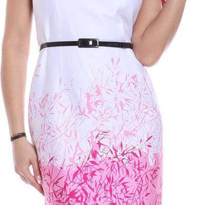 Dámské bílo-růžové pouzdrové šaty Melli London