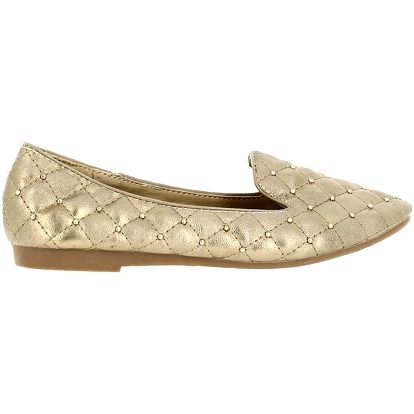 Dámské zlaté balerínky s dekorativními kamínky Shoes and the City