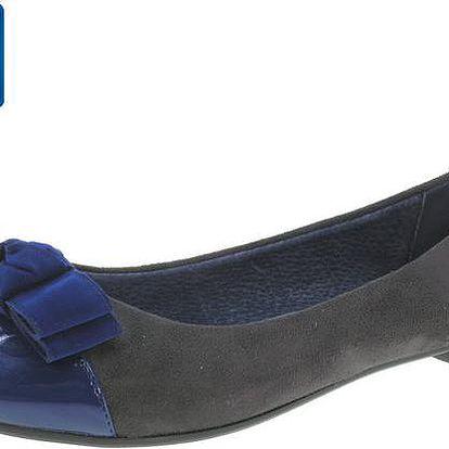 Dámské šedo-modré balerínky s mašlí Beppi