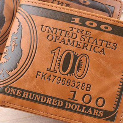 """Luxusní pánská kožená peněženka """"100 dollars"""""""