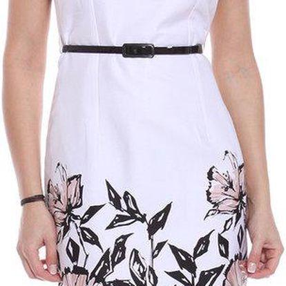Dámské bílé pouzdrové šaty s růžovými květinami Melli London